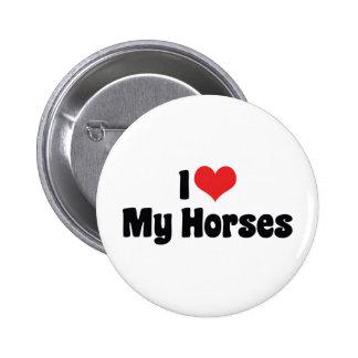 I Love Heart Horses - Horse Lover Button