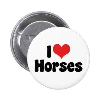 I Love Heart Horses - Horse Lover Pinback Button