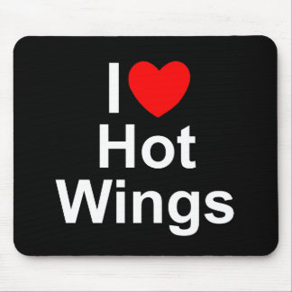 I Love (Heart) Hot Wings Mouse Pad