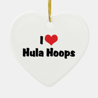 I Love Heart Hula Hoops - 1950's Hula Hoop Lover Ceramic Ornament