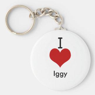 I Love (heart) Iggy Basic Round Button Keychain