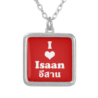 I Love (Heart) Isaan Square Pendant Necklace