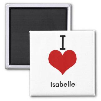 I Love (heart) Isabelle 2 Inch Square Magnet