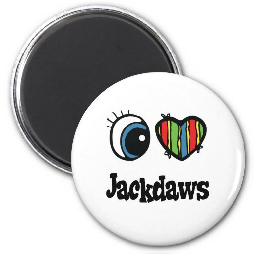 I Love (Heart) Jackdaws 2 Inch Round Magnet