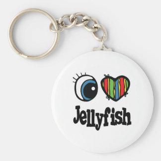 I Love (Heart) Jellyfish Keychain