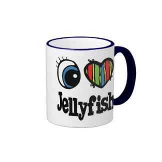 I Love (Heart) Jellyfish Ringer Coffee Mug
