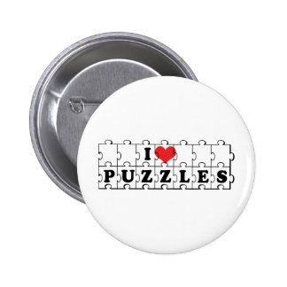 I Love Heart Jigsaw Puzzles - Puzzle Lover Button