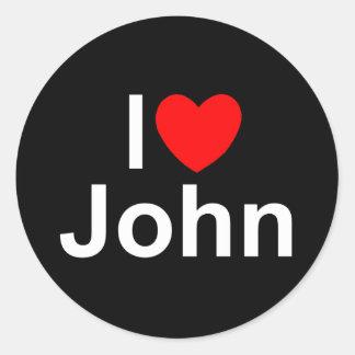 I Love (Heart) John Classic Round Sticker