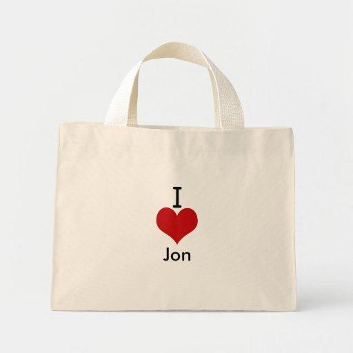 I Love (heart) Jon Tote Bag