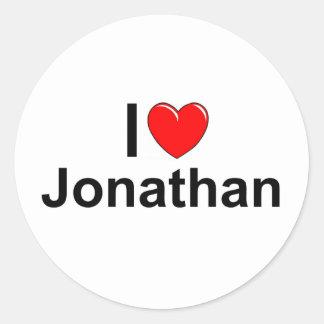 I Love (Heart) Jonathan Classic Round Sticker