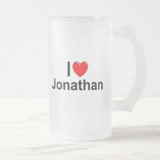 I Love (Heart) Jonathan Frosted Glass Beer Mug