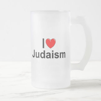 I Love (Heart) Judaism Frosted Glass Beer Mug