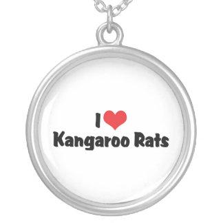 I Love Heart Kangaroo Rats Silver Plated Necklace
