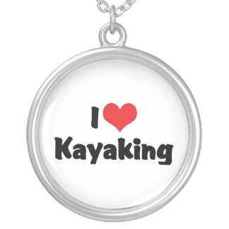I Love Heart Kayaking - River Rafting Silver Plated Necklace