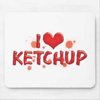 I Love Heart Ketchup - Catsup Lover Mouse Pad