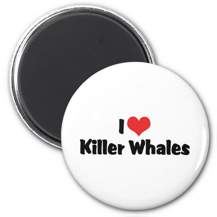 I Love Heart Killer Whales 2 Inch Round Magnet