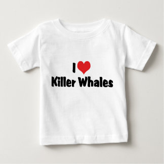 I Love Heart Killer Whales Baby T-Shirt