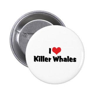 I Love Heart Killer Whales Pinback Button
