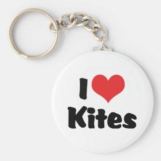 I Love Heart Kites - Kite Flying Lover Keychain
