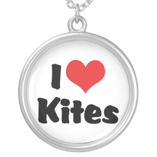 I Love Heart Kites - Kite Flying Lover Silver Plated Necklace