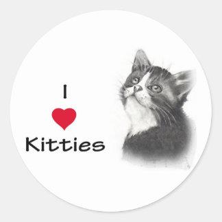 I Love (Heart) Kitties Classic Round Sticker