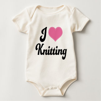 I Love (Heart) Knitting Baby Bodysuit