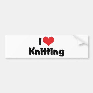 I Love Heart Knitting Bumper Sticker