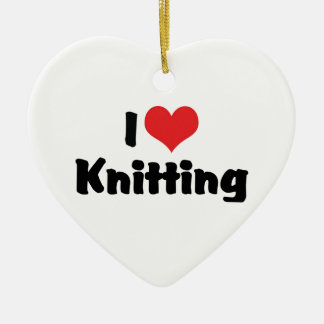 I Love Heart Knitting Ceramic Ornament