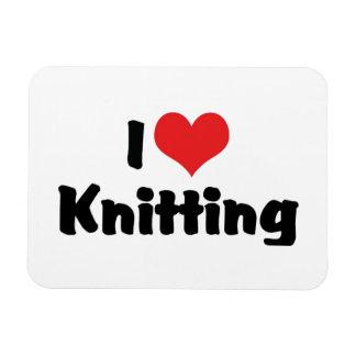 I Love Heart Knitting Rectangular Photo Magnet