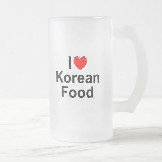 I Love(Heart) Korean Food Frosted Glass Beer Mug