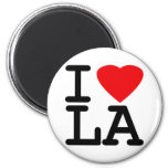 I Love Heart LA 2 Inch Round Magnet