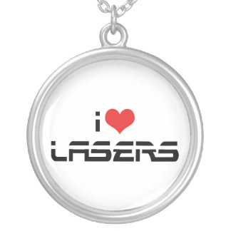 I Love Heart Lasers - Science & Technology Lovers Silver Plated Necklace