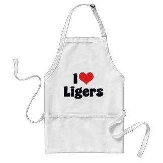 I Love Heart Ligers Adult Apron