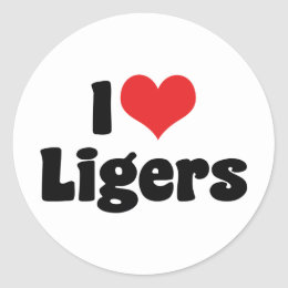I Love Heart Ligers Classic Round Sticker