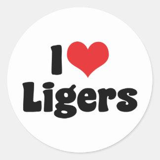 I Love Heart Ligers Classic Round Sticker