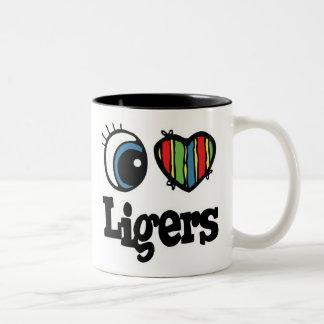 I Love (Heart) Ligers Two-Tone Coffee Mug