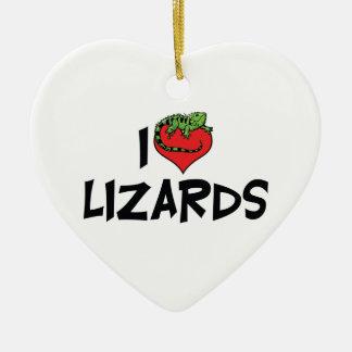 I Love Heart Lizards - Reptile Lover Ceramic Ornament