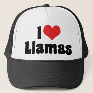 I Love Heart Llamas Trucker Hat