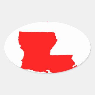 I Love (Heart) Louisiana Oval Sticker