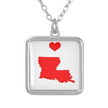 I Love (Heart) Louisiana Silver Plated Necklace