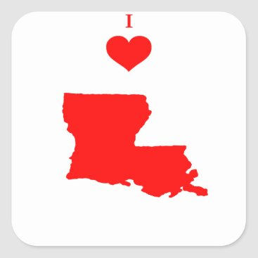 I Love (Heart) Louisiana Square Sticker