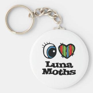 I Love (Heart) Luna Moths Basic Round Button Keychain