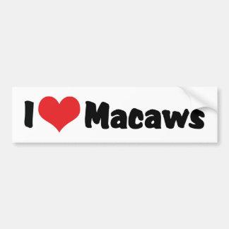 I Love Heart Macaws - Bird Lover Bumper Sticker