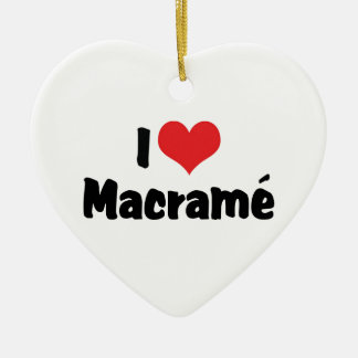 I Love Heart Macramé Ceramic Ornament