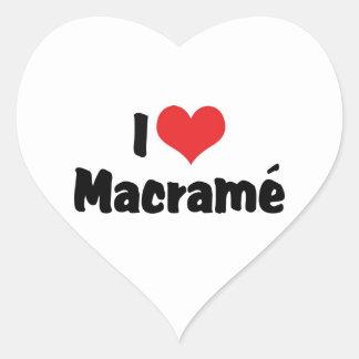 I Love Heart Macramé Heart Sticker