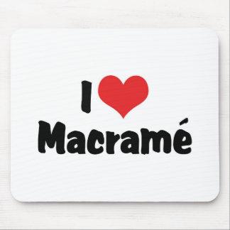I Love Heart Macramé Mouse Pad