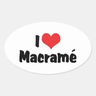 I Love Heart Macramé Oval Sticker