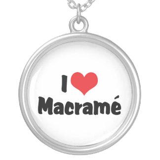 I Love Heart Macramé Silver Plated Necklace