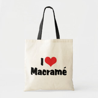 I Love Heart Macramé Tote Bag