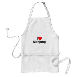 I Love Heart Mahjong Adult Apron